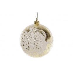 Елочный шар 10см с рельефом Шишки, цвет - белый с золотом