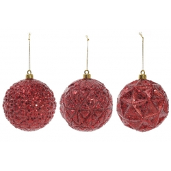 Елочный шар 10см, цвет - красный, 3 вида
