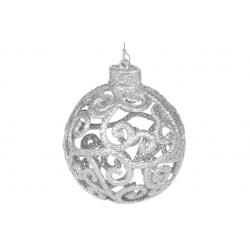 Елочное украшение Ажурный шар 8см, цвет - серебро