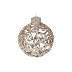 Елочное украшение Ажурный шар 8см, цвет - шампань