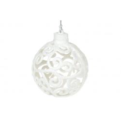 Елочное украшение Ажурный шар 8см, цвет - белый