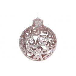 Елочное украшение Ажурный шар 8см, цвет - розовый