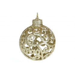 Елочное украшение Ажурный шар 8см, цвет - светло-золотой