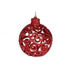 Елочное украшение Ажурный шар 8см, цвет - красный