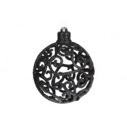 Елочное украшение Ажурный шар 8см, цвет - чёрный