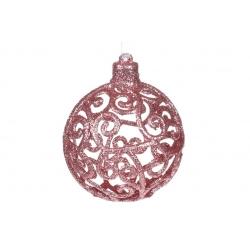 Елочное украшение Ажурный шар 8см, цвет - розово-персиковый