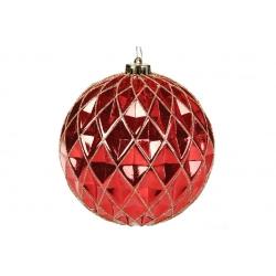 Елочный шар 15см с рельефом, цвет - красный