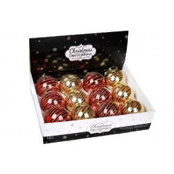 Елочный шар 10см, микс 2 цвета в дисплей- коробке : золото, красный