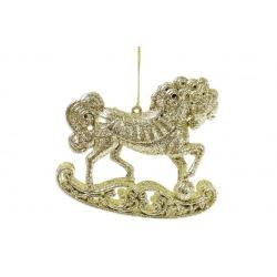 Елочная подвеска Лошадь 10см, цвет - золото