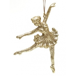 Елочная подвеска Балерина 15см, цвет - золото