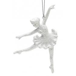 Елочная подвеска Балерина 15см, цвет - белый
