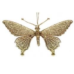 Елочная подвеска Бабочка 15см, цвет - золото