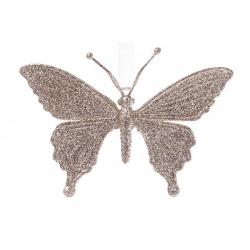 Елочная подвеска Бабочка 15см, цвет - шампань