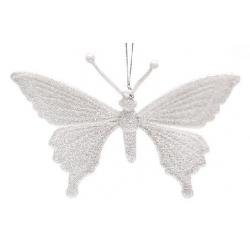 Елочная подвеска Бабочка, 11x15см, цвет - белый