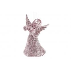 Елочная подвеска Ангел 8см, цвет - светло-розовый