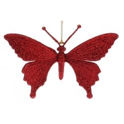 Елочная подвеска Бабочка 15см, цвет - красный