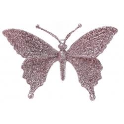 Елочная подвеска Бабочка 15см, цвет - светло-розовый