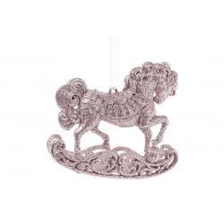 Елочная подвеска Лошадь 10см, цвет - светло-розовый