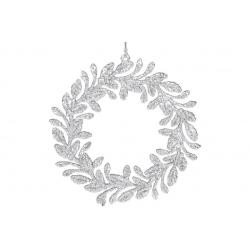 Елочная подвеска Венок, 14см, цвет- серебро