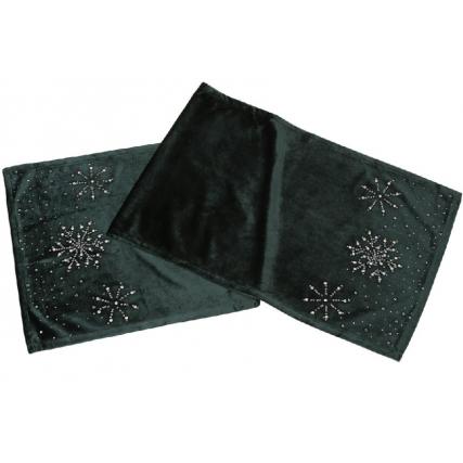 Бархатный раннер для праздничного оформления стола со стразами, 140см, цвет - классический зеленый