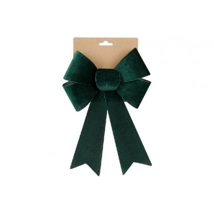 Бант декоративный из бархата 20*30см, цвет - тёмно-зелёный