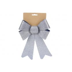 Бант декоративный 16*25см, цвет - синий с серебром