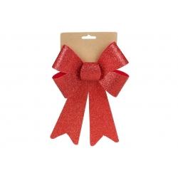 Бант декоративный 16*25см, цвет - блестящий красный