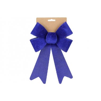 Бант декоративный из бархата 16*25см, цвет - королевский синий