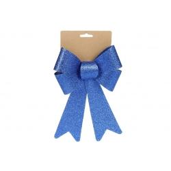 Бант декоративный 16*25см, цвет - блестящий синий