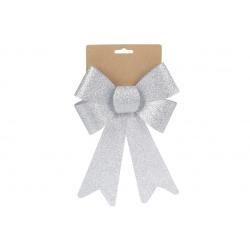 Бант декоративный 16*25см, цвет - блестящее серебро