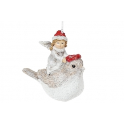 Декоративная подвесная фигурка Ангелочек на птичке, 9см, цвет - бежевый с красным