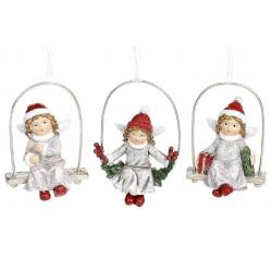 Декоративная подвесная фигурка Ангел на качели, 3 вида, 5.5см, цвет - винтажный белый с красным