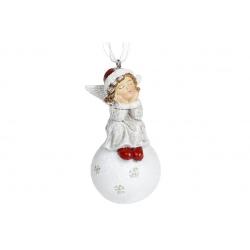 Декоративная подвесная фигурка Ангелочек на снежке, 8см, цвет - винтажный белый с красным