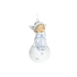 Декоративная подвесная фигурка Ангелочек на снежке, 8см, цвет - голубой