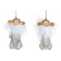 Декоративная подвесная фигурка Ангел, 7.5см, 2 вида, цвет - серебро