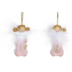 Декоративная подвесная фигурка Ангел, 7.5см, 2 вида, цвет - розовый