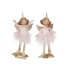 Декоративная подвесная фигурка Ангел на звезде, 10см, 2 вида, цвет - розовая пудра с золотом