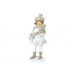 Декоративная статуэтка Девочка с подарком, 18см, 2 вида, цвет - розовый с белым