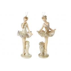 Декоративная подвесная фигурка Балерина 17см, цвет - шампань, 2 вида