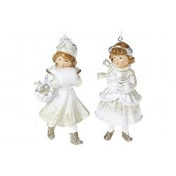 Декоративная подвесная фигурка Девочка с муфтой, 12см, 2 вида, цвет - шампань