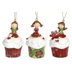 Декоративная подвесная фигурка Девочка на пирожном , 8см, 3 вида, цвет - красный с зелёным