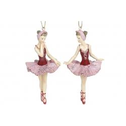 Декоративная подвесная фигурка Балерина, 11см, 2 вида, цвет - бордо с розовым