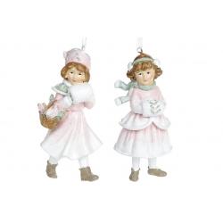 Декоративная подвесная фигурка Девочка с муфтой, 12см, 2 вида, цвет - розовый