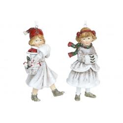 Декоративная подвесная фигурка Девочка с муфтой, 12см, 2 вида, цвет - винтажный белый с красным