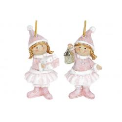 Декоративная подвесная фигурка Девочка с подарком, 10см, 2 вида, цвет - розовый с белым