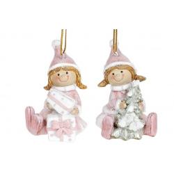 Декоративная подвесная фигурка Девочка, 7см, 2 вида, цвет - розовый с белым