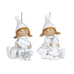 Декоративная подвесная фигурка Девочка, 7см, 2 вида, цвет - белый с серебром