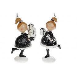 Декоративная подвесная фигурка Девочка с подарками, 11.5см, 2 вида, цвет - чёрный с белым