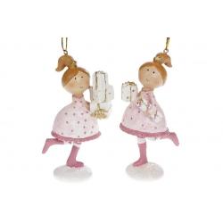 Декоративная подвесная фигурка Девочка с подарками, 11.5см, 2 вида, цвет - розовый