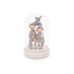 Декоративная композиция с фигурками девочки и и мальчика внутри и LED-гирляндой